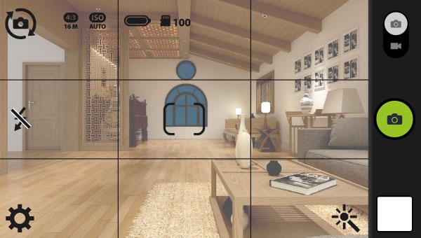 カメラのグリッド線に合わせて室内を撮影